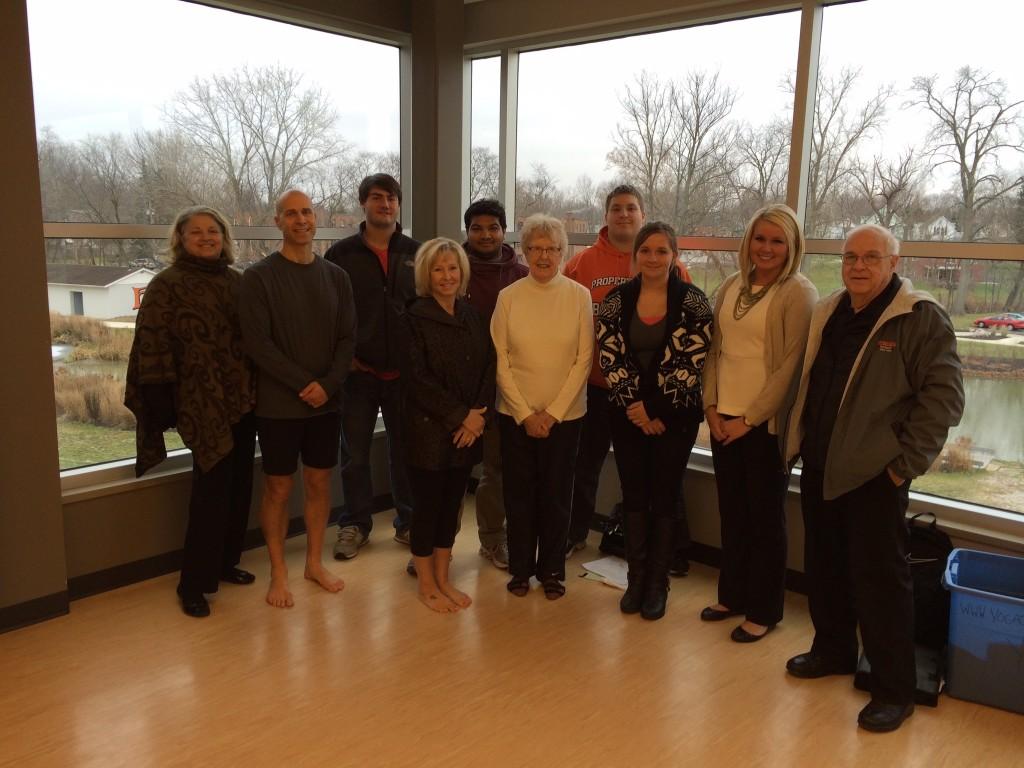 Professor Mary Lou, Yoga Chuck, Colin, Debi, Esham, Vera, Mike, Mackenzie, Megan and Robert.