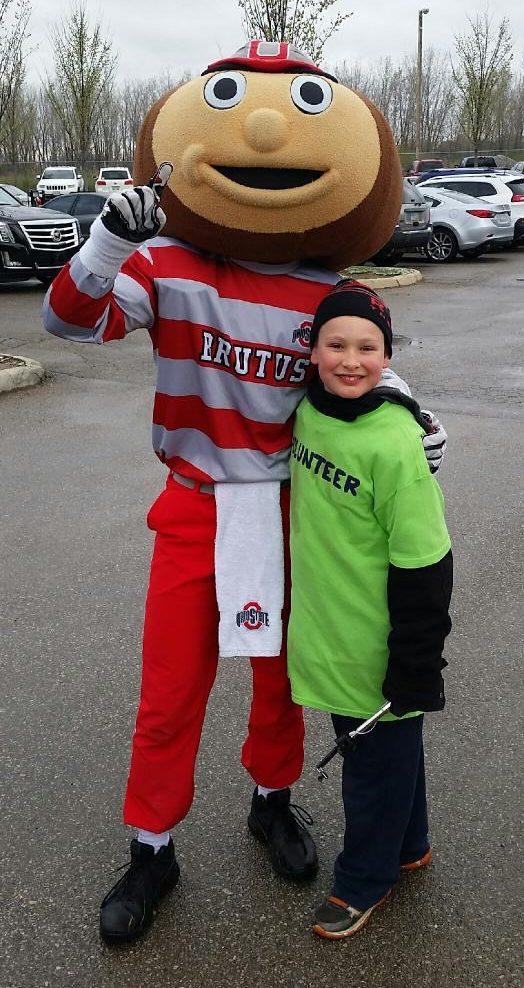 James with Brutus, Ohio State University Mascot