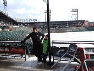 James and I bundled up at Huntington Park baseball stadium