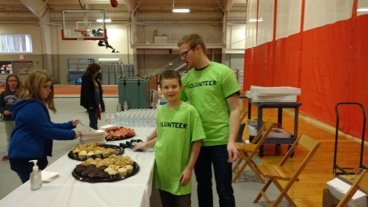 James and Austin serving walkers before the walk